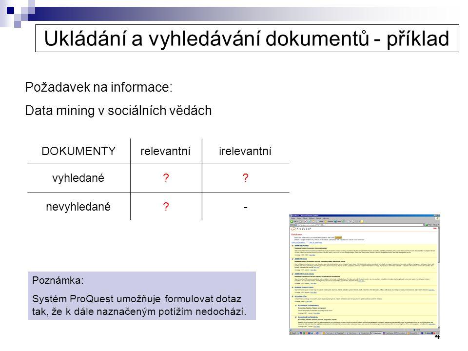4 Ukládání a vyhledávání dokumentů - příklad Požadavek na informace: Data mining v sociálních vědách DOKUMENTYrelevantníirelevantní vyhledané?? nevyhl