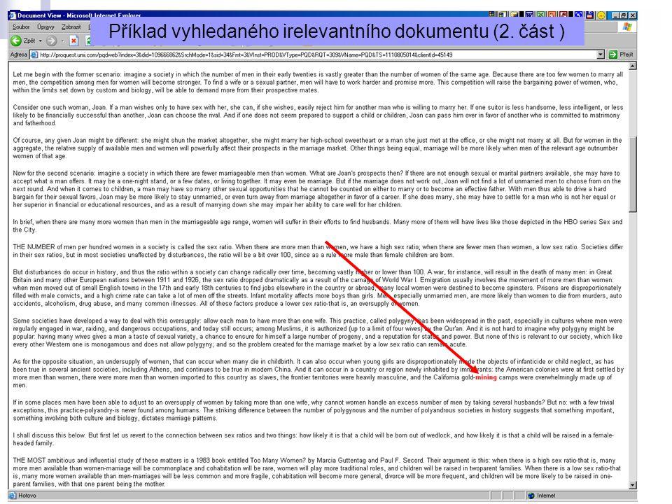8 Příklad vyhledaného irelevantního dokumentu (2. část )