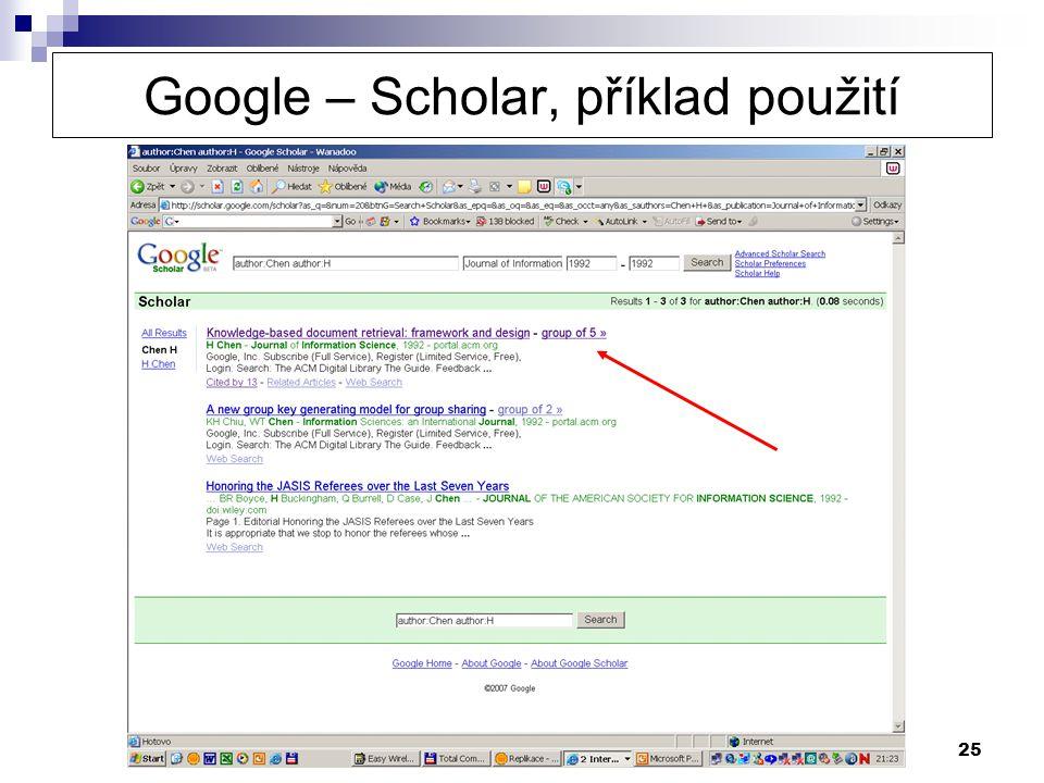 25 Google – Scholar, příklad použití