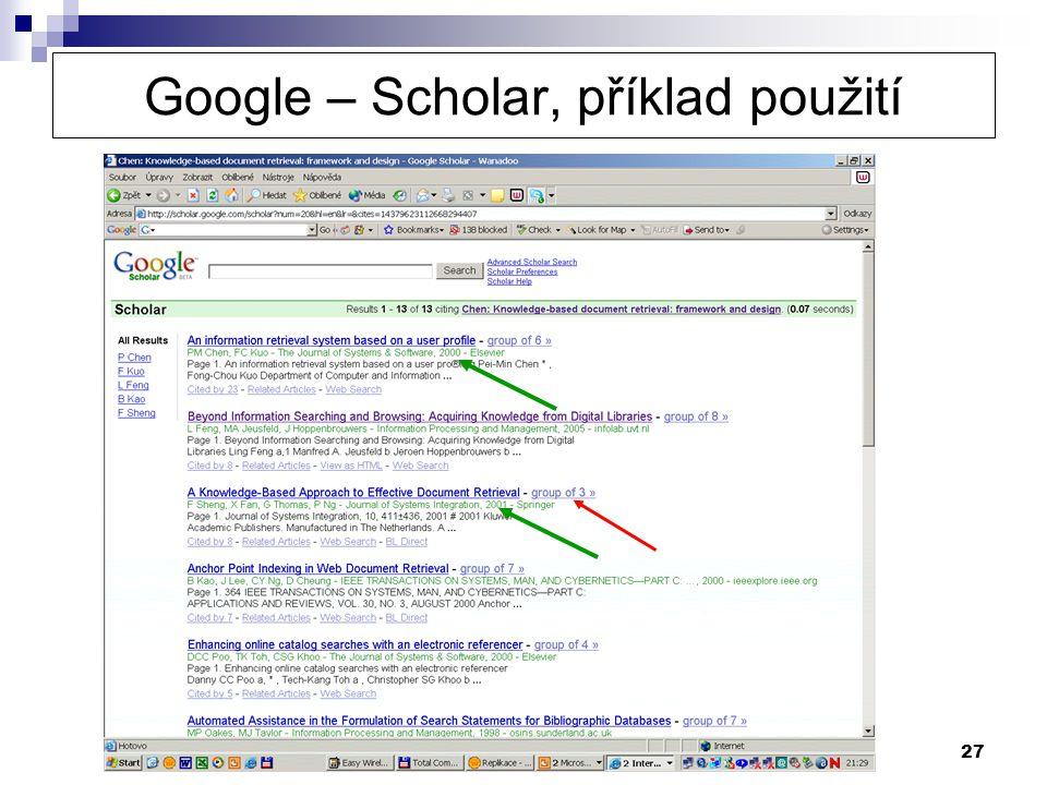 27 Google – Scholar, příklad použití
