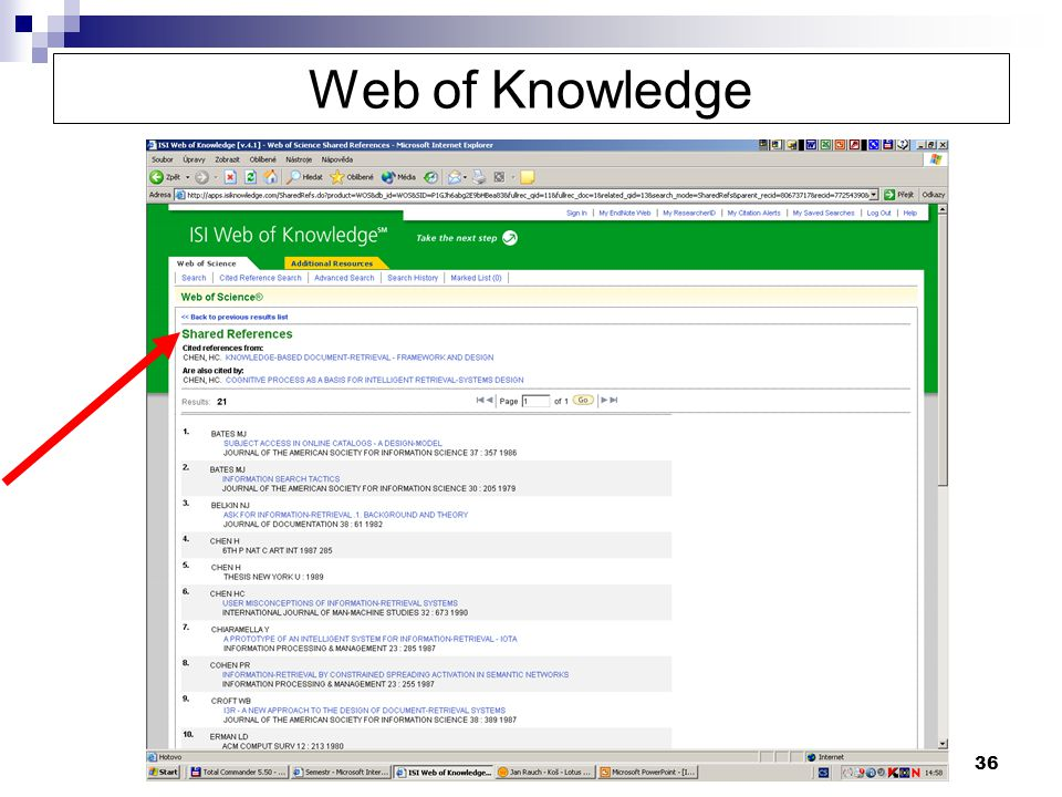 36 Web of Knowledge