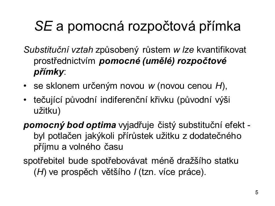 5 SE a pomocná rozpočtová přímka Substituční vztah způsobený růstem w lze kvantifikovat prostřednictvím pomocné (umělé) rozpočtové přímky: se sklonem