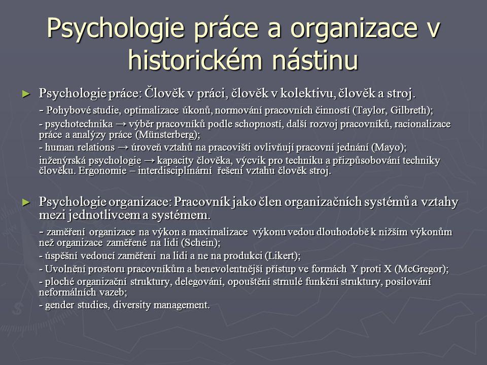 Psychologie práce a organizace v historickém nástinu ► Psychologie práce: Člověk v práci, člověk v kolektivu, člověk a stroj. - Pohybové studie, optim
