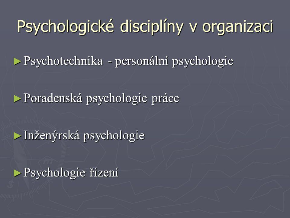 Psychologické disciplíny v organizaci ► Psychotechnika - personální psychologie ► Poradenská psychologie práce ► Inženýrská psychologie ► Psychologie