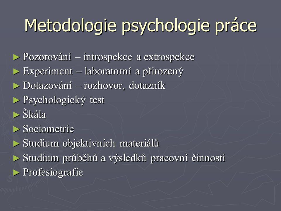 Metodologie psychologie práce ► Pozorování – introspekce a extrospekce ► Experiment – laboratorní a přirozený ► Dotazování – rozhovor, dotazník ► Psyc