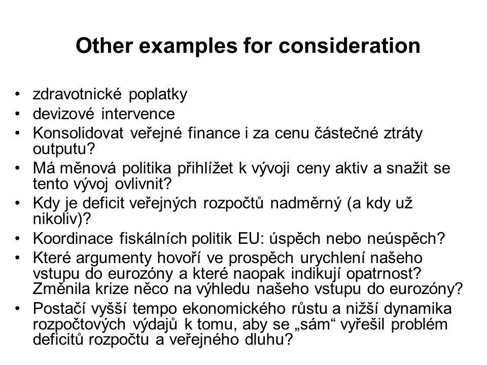 Other examples for consideration zdravotnické poplatky devizové intervence Konsolidovat veřejné finance i za cenu částečné ztráty outputu? Má měnová p