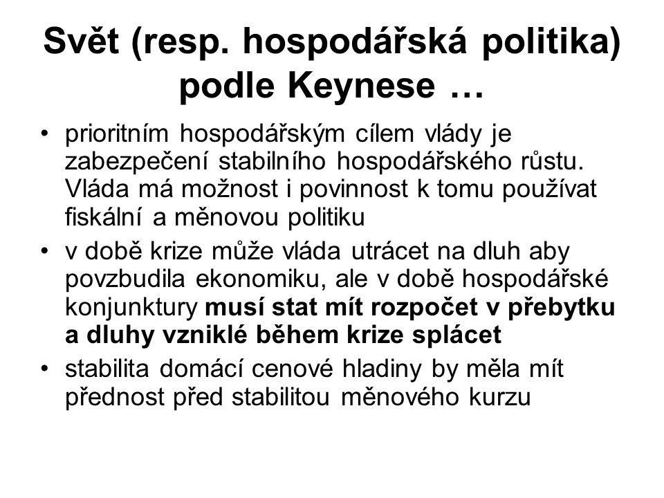 Svět (resp. hospodářská politika) podle Keynese … prioritním hospodářským cílem vlády je zabezpečení stabilního hospodářského růstu. Vláda má možnost