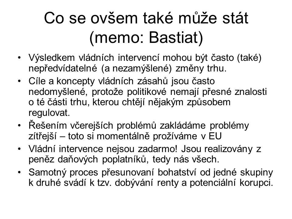 Co se ovšem také může stát (memo: Bastiat) Výsledkem vládních intervencí mohou být často (také) nepředvídatelné (a nezamýšlené) změny trhu. Cíle a kon