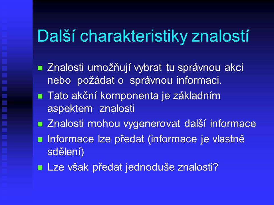 Další charakteristiky znalostí n n Znalosti umožňují vybrat tu správnou akci nebo požádat o správnou informaci.