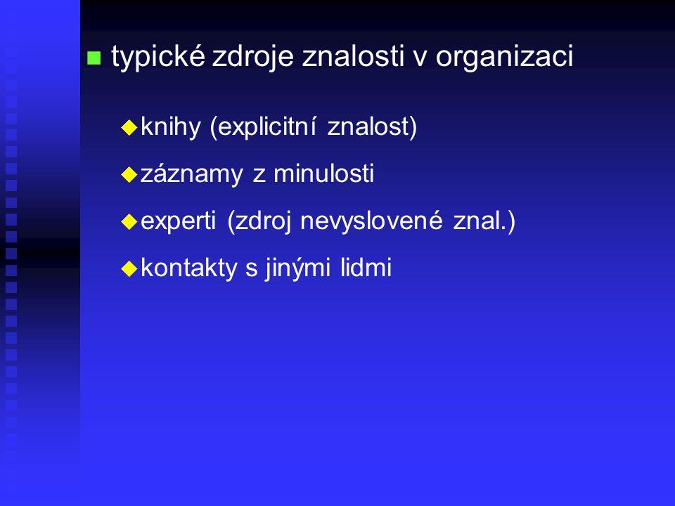 n n typické zdroje znalosti v organizaci u u knihy (explicitní znalost) u u záznamy z minulosti u u experti (zdroj nevyslovené znal.) u u kontakty s jinými lidmi