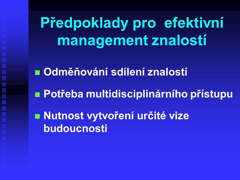 Předpoklady pro efektivní management znalostí n n Odměňování sdílení znalostí n n Potřeba multidisciplinárního přístupu Nutnost vytvoření určité vize budoucnosti