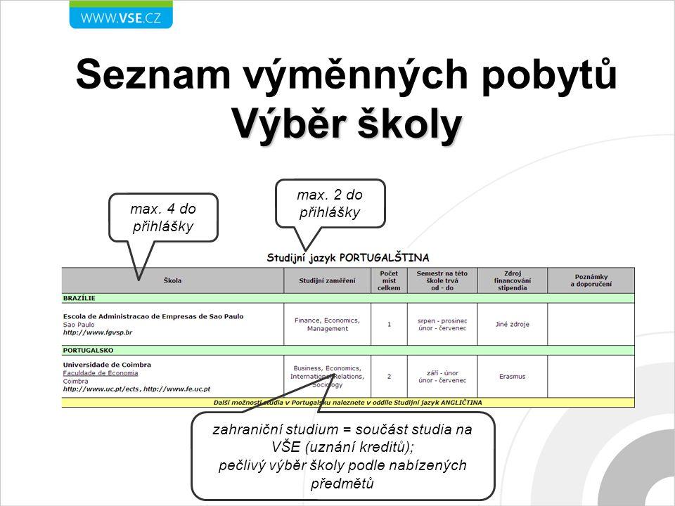 Výběr školy Seznam výměnných pobytů Výběr školy max.