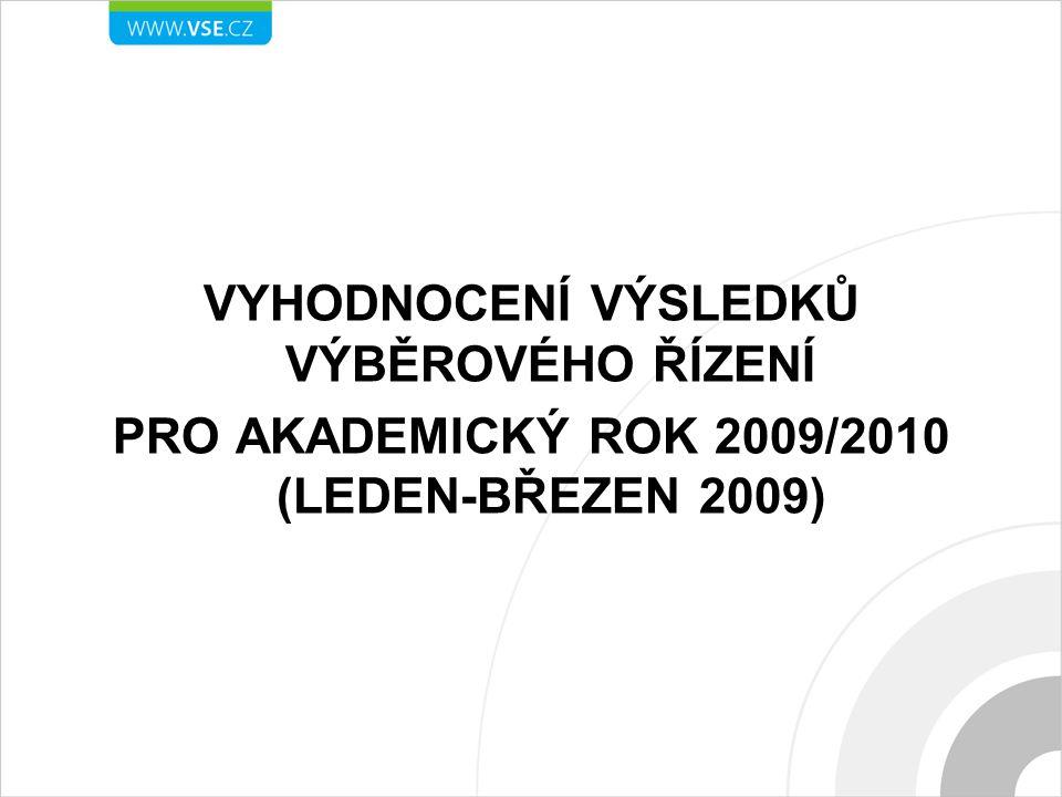 VYHODNOCENÍ VÝSLEDKŮ VÝBĚROVÉHO ŘÍZENÍ PRO AKADEMICKÝ ROK 2009/2010 (LEDEN-BŘEZEN 2009)