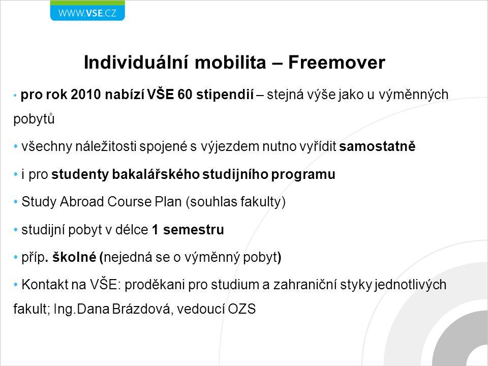 Individuální mobilita – Freemover pro rok 2010 nabízí VŠE 60 stipendií – stejná výše jako u výměnných pobytů všechny náležitosti spojené s výjezdem nutno vyřídit samostatně i pro studenty bakalářského studijního programu Study Abroad Course Plan (souhlas fakulty) studijní pobyt v délce 1 semestru příp.