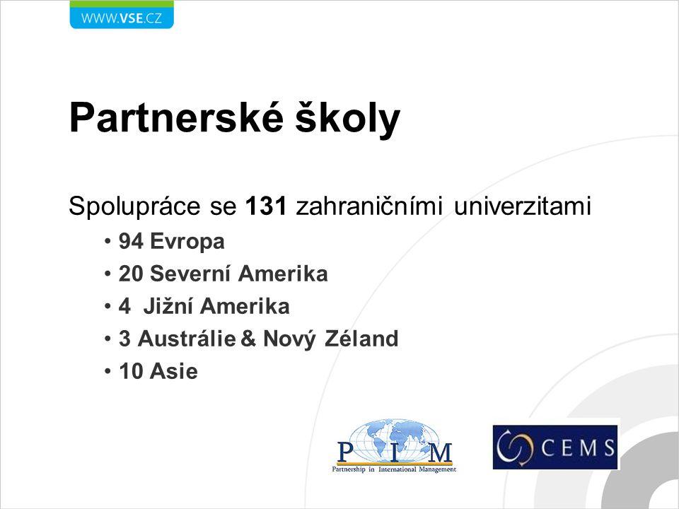 Partnerské školy Spolupráce se 131 zahraničními univerzitami 94 Evropa 20 Severní Amerika 4 Jižní Amerika 3 Austrálie & Nový Zéland 10 Asie