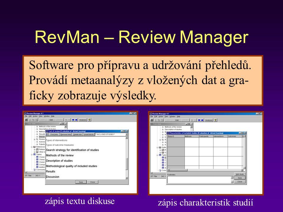 RevMan – Review Manager Software pro přípravu a udržování přehledů.