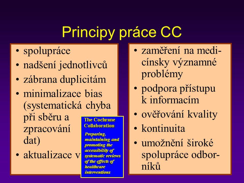 Centra Cochrane – institucionální složky pracující na geografickém principu.