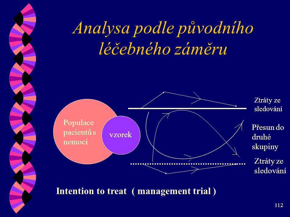 112 Analysa podle původního léčebného záměru Populace pacientů s nemocí vzorek Ztráty ze sledování Přesun do druhé skupiny Ztráty ze sledování Intention to treat ( management trial )