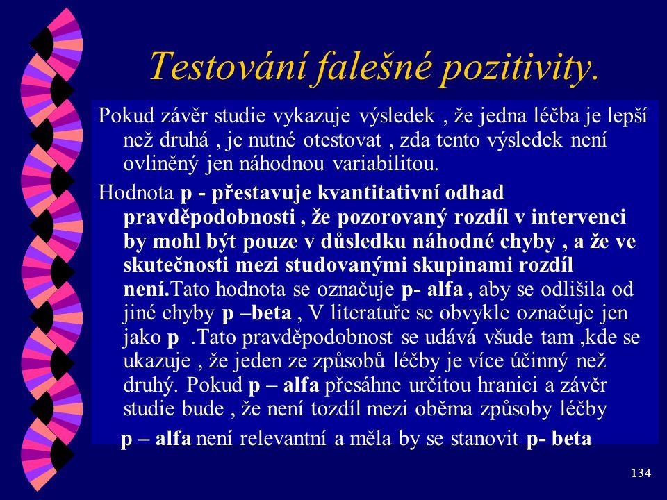 134 Testování falešné pozitivity.