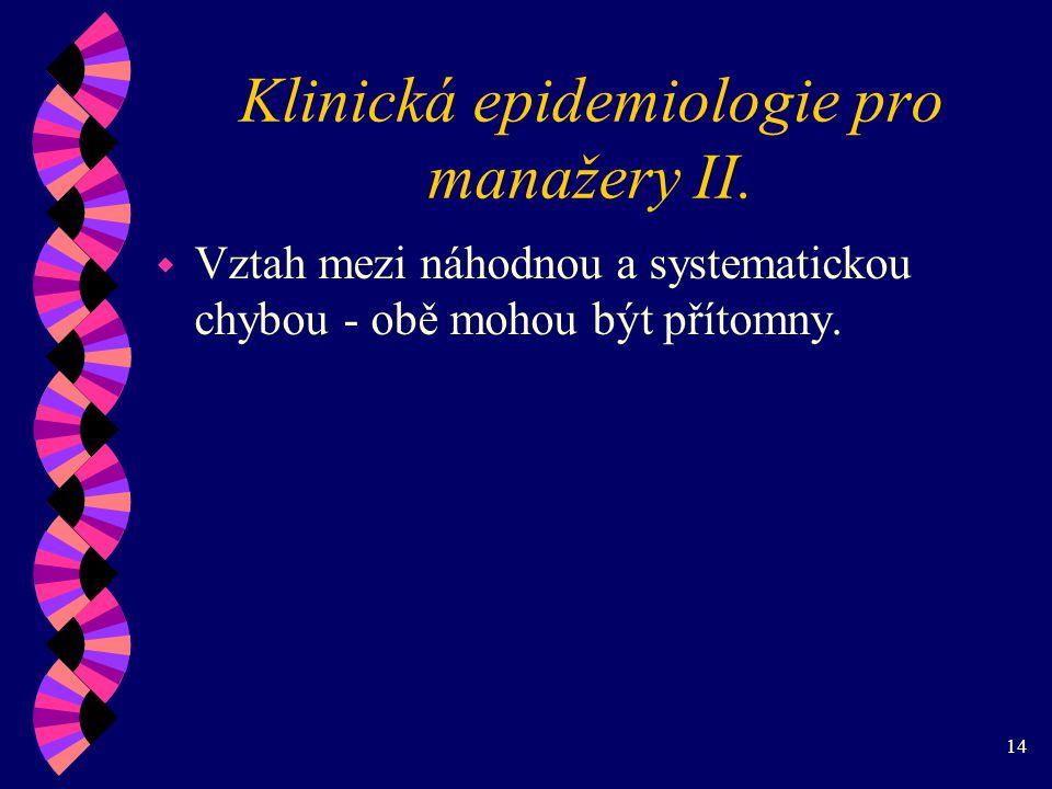 14 Klinická epidemiologie pro manažery II.