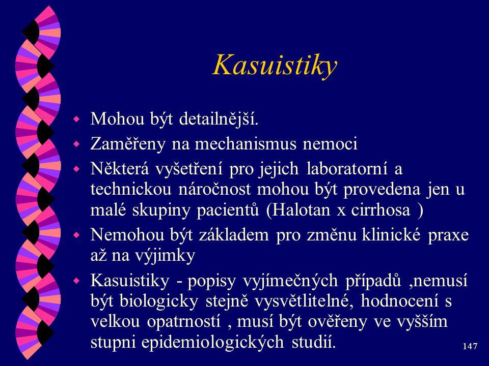 147 Kasuistiky w Mohou být detailnější.