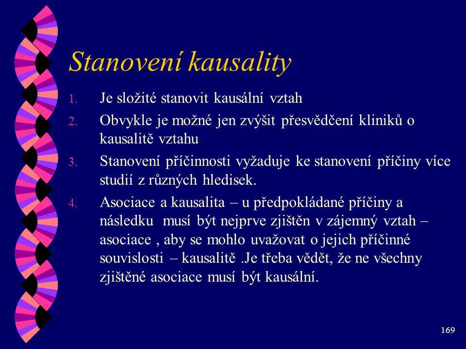 169 Stanovení kausality 1.Je složité stanovit kausální vztah 2.