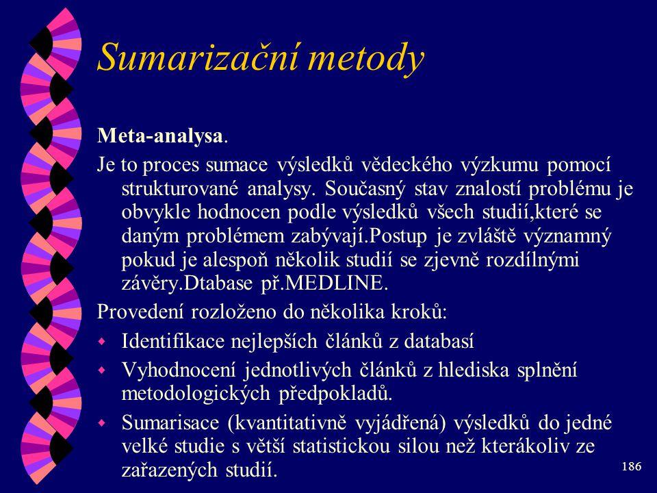 186 Sumarizační metody Meta-analysa.