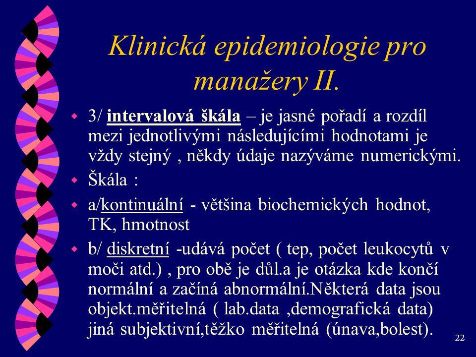 22 Klinická epidemiologie pro manažery II.