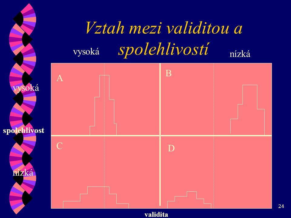 24 Vztah mezi validitou a spolehlivostí validita spolehlivost nízká vysoká nízká A B C D