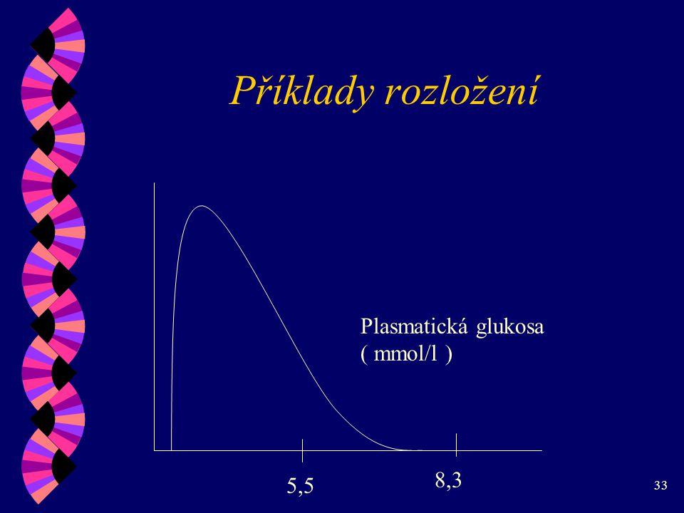 33 Příklady rozložení 5,5 8,3 Plasmatická glukosa ( mmol/l )