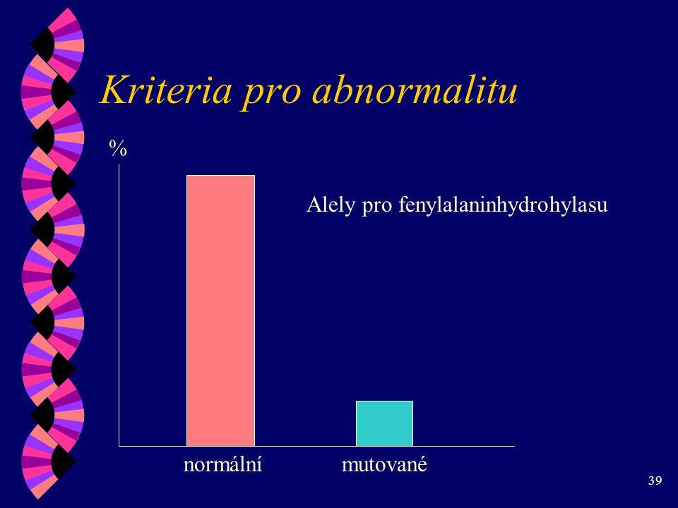 39 Kriteria pro abnormalitu % normálnímutované Alely pro fenylalaninhydrohylasu