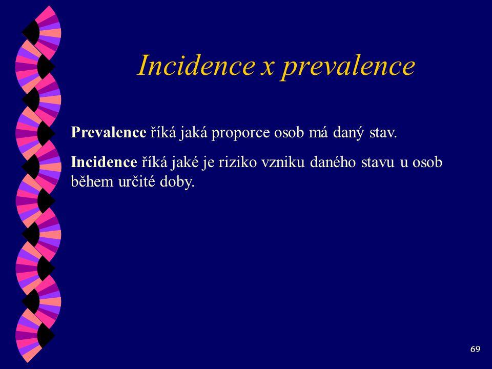 69 Incidence x prevalence Prevalence říká jaká proporce osob má daný stav.
