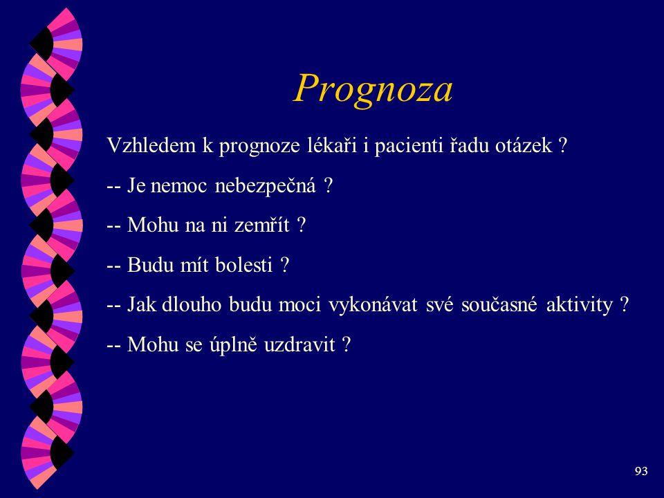 93 Prognoza Vzhledem k prognoze lékaři i pacienti řadu otázek .