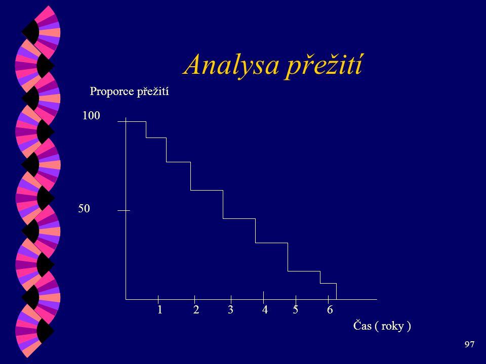97 Analysa přežití Proporce přežití Čas ( roky ) 50 100 123456