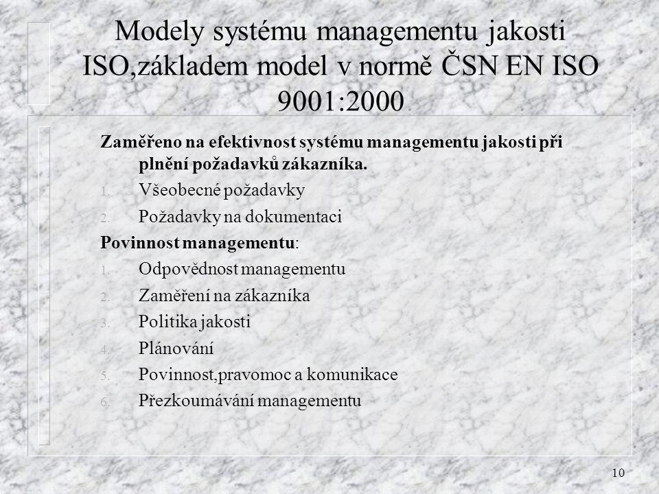 10 Modely systému managementu jakosti ISO,základem model v normě ČSN EN ISO 9001:2000 Zaměřeno na efektivnost systému managementu jakosti při plnění p