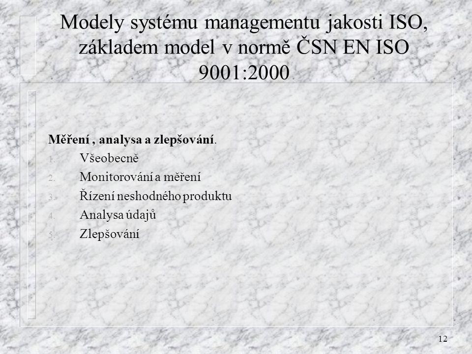 12 Modely systému managementu jakosti ISO, základem model v normě ČSN EN ISO 9001:2000 Měření, analysa a zlepšování. 1. Všeobecně 2. Monitorování a mě