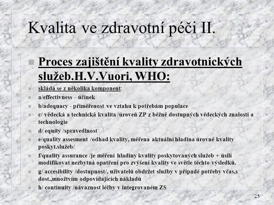 25 Kvalita ve zdravotní péči II. n Proces zajištění kvality zdravotnických služeb.H.V.Vuori, WHO: n skládá se z několika komponent: n a/effectivness -