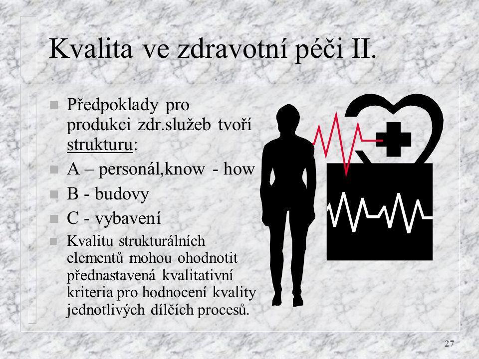 27 Kvalita ve zdravotní péči II. n Předpoklady pro produkci zdr.služeb tvoří strukturu: n A – personál,know - how n B - budovy n C - vybavení n Kvalit