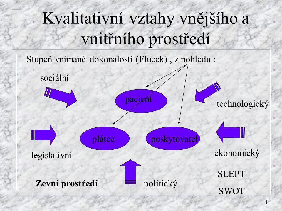 4 Kvalitativní vztahy vnějšího a vnitřního prostředí Stupeň vnímané dokonalosti (Flueck), z pohledu : pacient poskytovatelplátce sociální legislativní
