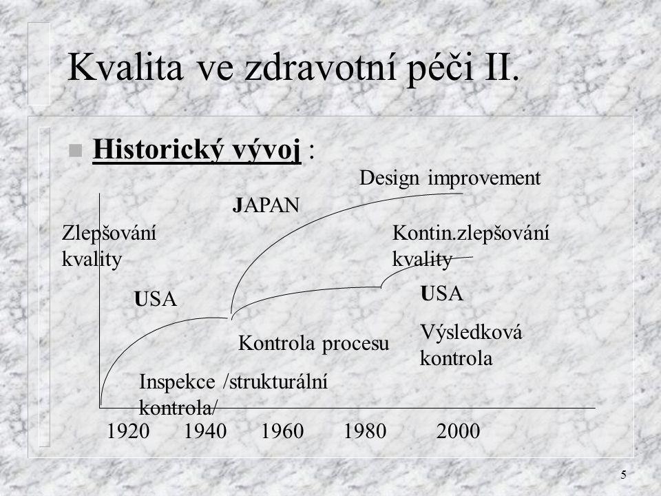 5 Kvalita ve zdravotní péči II. n Historický vývoj : 19201940196019802000 USA JAPAN USA Inspekce /strukturální kontrola/ Kontrola procesu Výsledková k