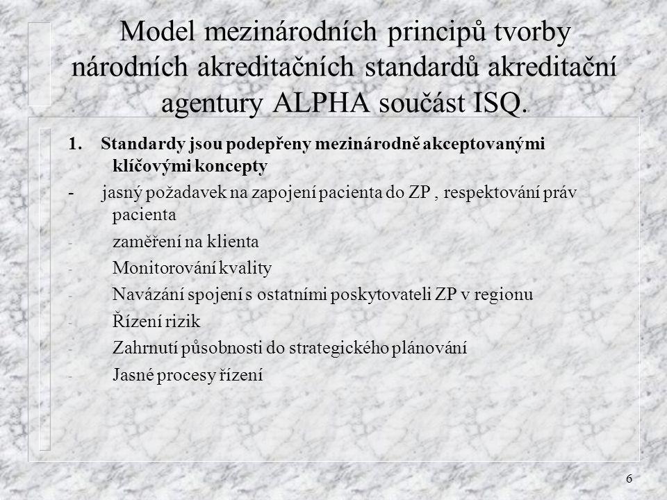 6 Model mezinárodních principů tvorby národních akreditačních standardů akreditační agentury ALPHA součást ISQ. 1. Standardy jsou podepřeny mezinárodn
