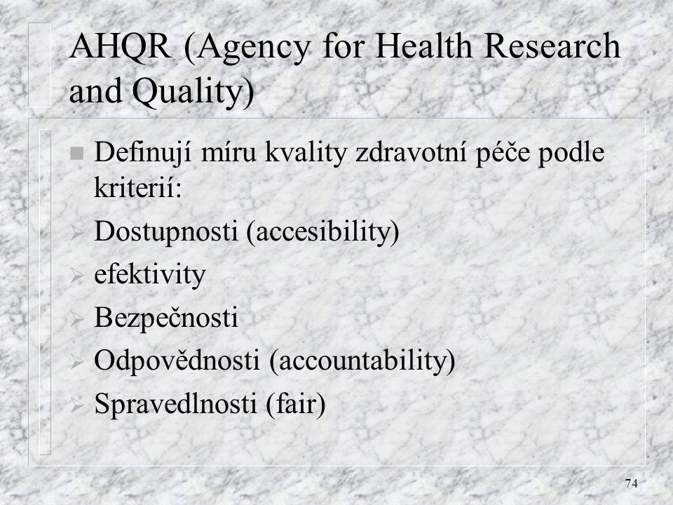 74 AHQR (Agency for Health Research and Quality) n Definují míru kvality zdravotní péče podle kriterií:  Dostupnosti (accesibility)  efektivity  Be