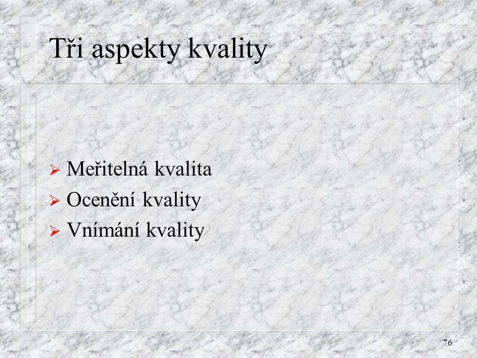 76 Tři aspekty kvality  Meřitelná kvalita  Ocenění kvality  Vnímání kvality