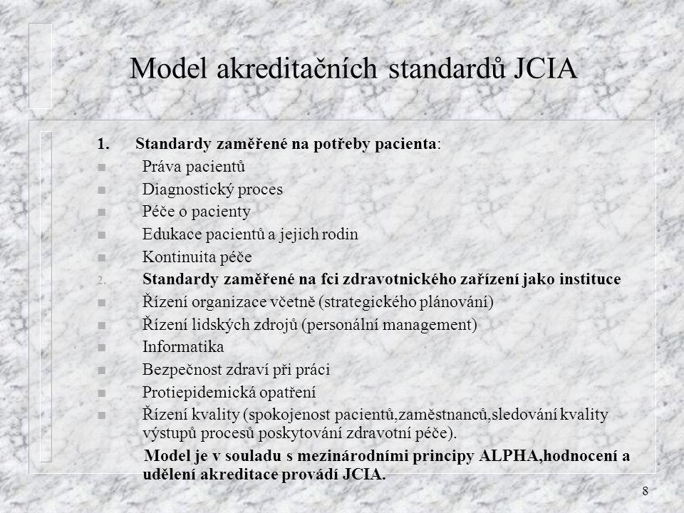 8 Model akreditačních standardů JCIA 1. Standardy zaměřené na potřeby pacienta: n Práva pacientů n Diagnostický proces n Péče o pacienty n Edukace pac