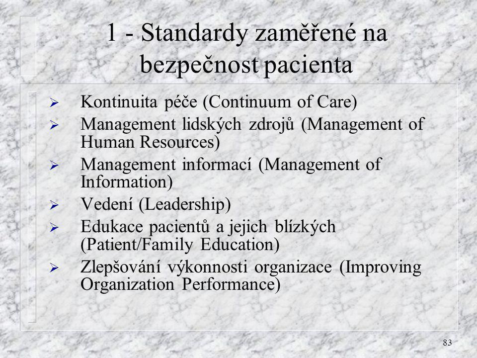 83 1 - Standardy zaměřené na bezpečnost pacienta  Kontinuita péče (Continuum of Care)  Management lidských zdrojů (Management of Human Resources) 