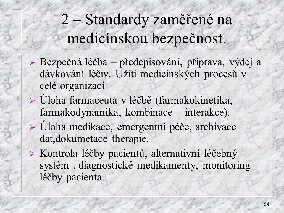 84 2 – Standardy zaměřené na medicínskou bezpečnost.  Bezpečná léčba – předepisování, příprava, výdej a dávkování léčiv. Užití medicínských procesů v