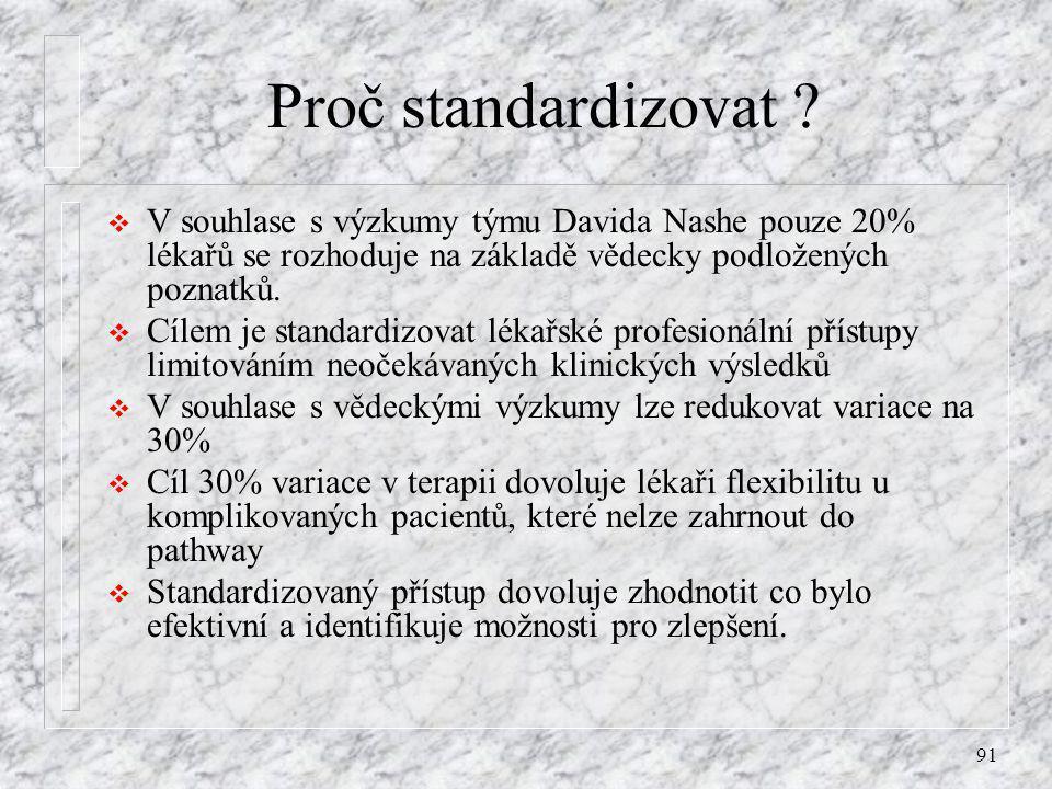 91 Proč standardizovat ?  V souhlase s výzkumy týmu Davida Nashe pouze 20% lékařů se rozhoduje na základě vědecky podložených poznatků.  Cílem je st