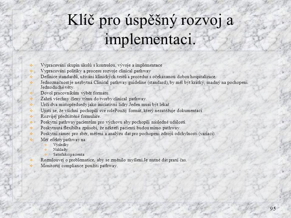 95 Klíč pro úspěšný rozvoj a implementaci.  Vypracování skupin úkolů s kontrolou, vývoje a implementace  Vypracování politiky a procesu rozvoje clin