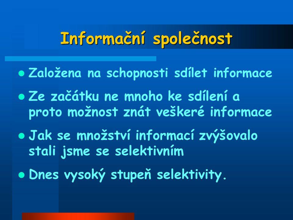 Informační společnost Založena na schopnosti sdílet informace Ze začátku ne mnoho ke sdílení a proto možnost znát veškeré informace Jak se množství in
