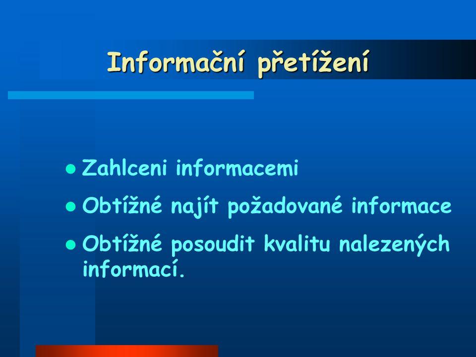 Informační přetížení Zahlceni informacemi Obtížné najít požadované informace Obtížné posoudit kvalitu nalezených informací.